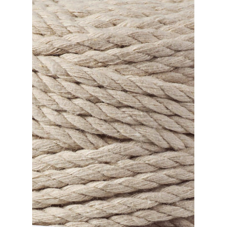 Beige 3ply macrame cotton rope 5mm 100m Bobbiny
